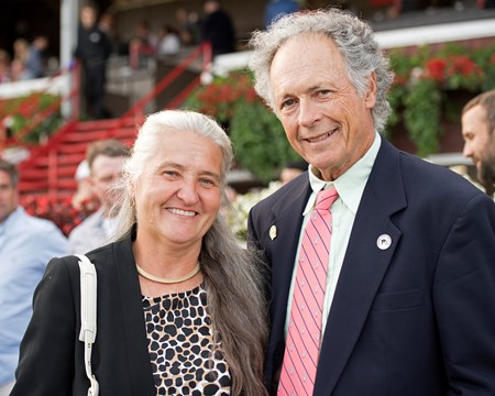 Joan Taylor and Bill Wilmot, breeders of Twisted Tom. Twisted Tom with Javier Castellano wins the Albany at Saratoga racecourse in Saratoga Springs, N.Y. on Aug. 25, 2017