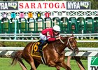 Gun Runner with jockey Florent Geroux carries a little extra weight, Cautious Giant's shoe hanging from his tail as he wins the 90th running of The Whitney at the Saratoga Race Course  Saturday Aug. 5, 2017 in Saratoga Springs, N.Y.