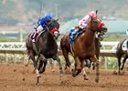 Munny Spunt (left) and Zapperkat run down the stretch in the Torrey Pines Stakes