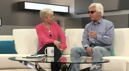 l-r, Zoe Cadman with Bob Baffert Scenes from the XBTV studio and XBTV talent and cameramen on location. Feb. 13, 2016 in , California.
