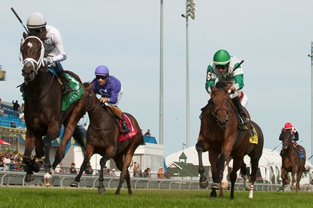Enstone (left) wins the Ontario Colleen Stakes over Grizzel