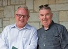Tony Cummins (left) and friend John O'Herlihy at Keeneland where Cummins sold a Quality Road colt for $95,000 Sept. 20