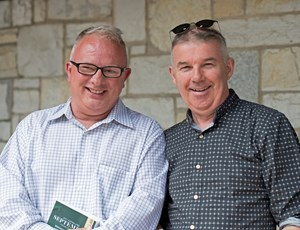 Tony Cummins (left) and friend John O'Herlihy at Keeneland where Cummins made his first purchase Sept. 20