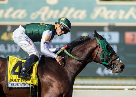 Corey Nakatani aboard Bolt d'Oro during their victory in the 2017 FrontRunner Stakes at Santa Anita Park