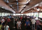 Prospective buyers inside the sales pavilion during Keeneland September