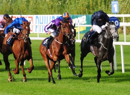 Hydrangea & Wayne Lordan (purple colours) get the better of Winter & Ryan Moore (right) to win the Group 1 Coolmore Fastnet Rocks Matron Stakes.
