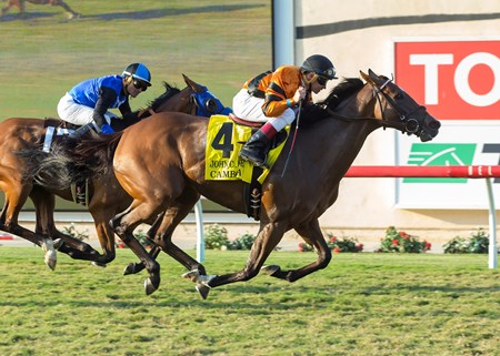 Winter Quarter Farm's Cambodia and jockey Drayden Van Dyke, right, outleg Goodyearforroses (Corey Nakatani), left, to win the G2, $200,000 John C. Mabee Stakes, Saturday, September 2, 2017 at Del Mar Thoroughbred Club, Del Mar CA.