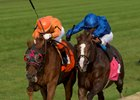Johnny Bear (outside) wins the Northern Dancer Turf Stakes over Hawkbill