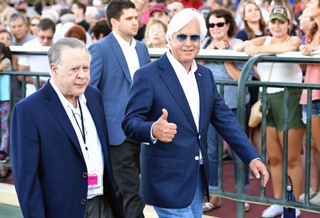 Bob Baffert and Gary West walk to the winner's circle after West Coast #4 ridden by Mike Smith won $1,000,000 Grade I Pennsylvania Derby at Parx Racing in Bensalem, Pennsylvania on September 23, 2017.