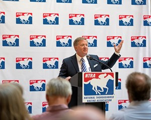 Alex Waldrop addresses NTRA Press Conference on pari-mutuel tax law changes. Sept. 26, 2017 in Lexington, Kentucky.
