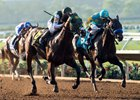 Bolt d'Oro passes Zatter to win the Del Mar Futurity