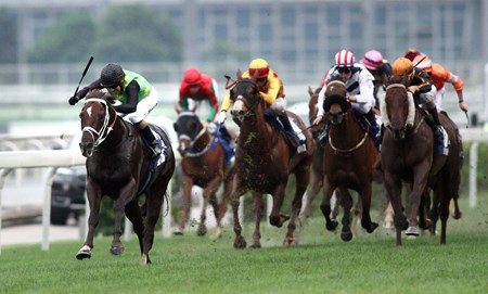 Variety Club kicks away and gets the better of Able Friend (orange cap) to take the 2014 Champions Mile