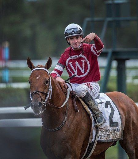 jockey Florent Geroux points to Guun Runner after he won the 64th running of The Woodward presented by NYRA Bets Saturday Sept. 1, 2017 at the Saratoga Race Course in Saratoga Springs, N.Y.