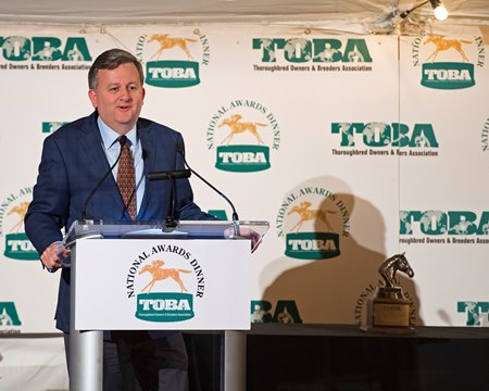William Lawrence accepting TOBA's national owner award Sept. 9 at Calumet Farm