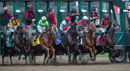 The field breaks the gate in the 64th running of The Woodward presented by NYRA Bets Saturday Sept. 1, 2017 at the Saratoga Race Course in Saratoga Springs, N.Y.