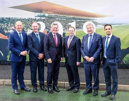 The Curragh has appointed John Sisk & Son as the main contractor to construct the new facilities scheduled to be completed by the end of 2018: Derek McGrath, CEO Curragh Racecourse; Paul Hackett, Sisk regional managing director Ireland East; Padraig McManus, chairman Curragh Racecourse; Richard Sisk, director John Sisk & Son; Joe Keeling, chairman Horse Racing Ireland; and Brian Kennedy, Sisk project director