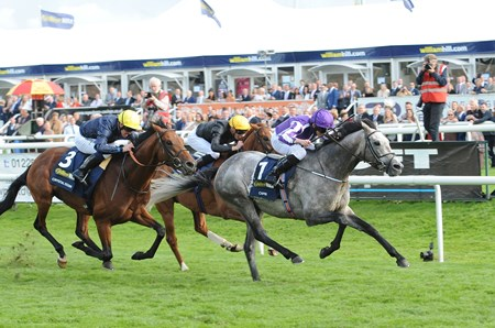 Capri ridden by Ryan Moore wins the William Hill St Leger Stakes