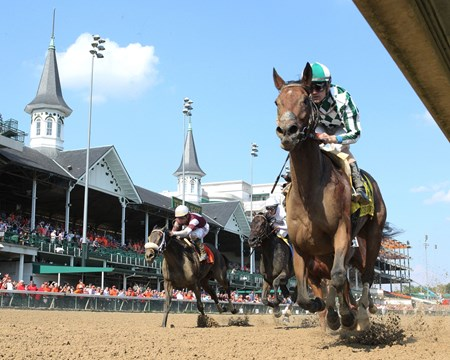 Romantic Vision wins the 2017 Locust Grove Stakes