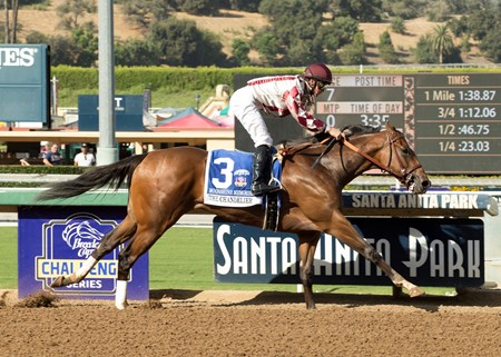 Moonshine Memories and jockey Flavien Prat win the G1 $300,000 Chandelier Stakes Saturday, September 30, 2017 at Santa Anita Park, Arcadia, CA.