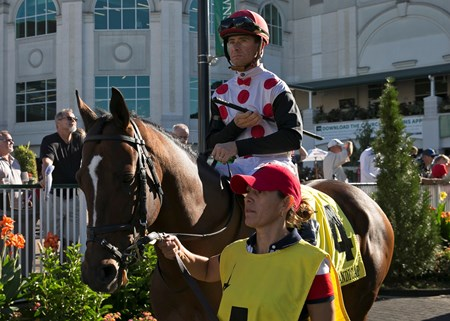 Awesome Slew and Corey Lanerie in the paddock before the Ack Ack on Saturday, September 30th, 2017 at Churchill Downs.