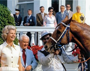 Secretariat and Penny Chenery after winning the 1973 Kentucky Derby