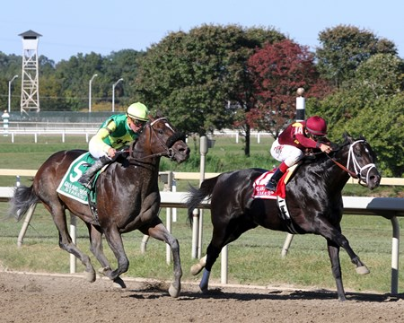 Coal Front with John Velazquez win the 30th Running of the Gallant Bob Stakes (G3) at Parx on September 23, 2017 over American Pastime (#5) with Kent Desormeaux