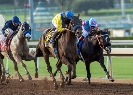 Mubtaahij scores his first top-level win in the Awesome Again Stakes