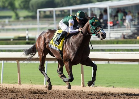 Ruis Racing's Bolt d'Oro and jockey Corey Nakatani win the G1, $300,000 FrontRunner Stakes, Saturday, September 30, 2017 at Santa Anita Park, Arcadia CA.