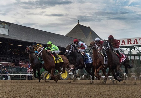The field breaks the gate and heads for the for the clubhouse turn in the 64th running of The Woodward presented by NYRA Bets Saturday Sept. 1, 2017 at the Saratoga Race Course in Saratoga Springs, N.Y.