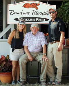 J. B. Orem, Beau Lane III, Michael Orem at their consignment barn during the Keeneland September sale