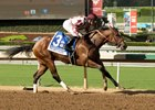 Undefeated Moonshine Memories wins the Chandelier Stakes at Santa Anita Park