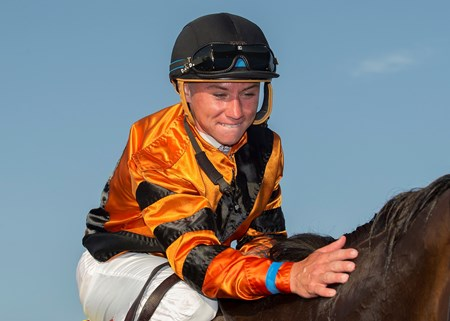 Jockey Drayden Van Dyke has a moment with Cambodia after their victory in the Grade II, $200,000 John C. Mabee Stakes, Saturday, September 2, 2017 at Del Mar Thoroughbred Club, Del Mar CA.