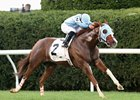 Bucchero draws clear to win the Woodford Stakes at Keeneland