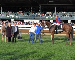 Miss Sunset in the Keeneland winner's circle with trainer Jeff Bonde (third from left) and connections