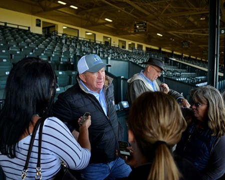 Trainer Brian Lynch talks with the media after works (Heart to Heart and Oscar Performance).
