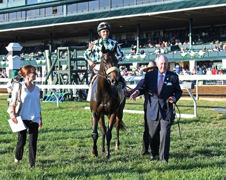 l-r, Sarah Arnold, horse, G. Watts Humphrey Jr.  Morticia with Jose Lezcano wins the Buffalo Trace Franklin County (G3).Oct. 13, 2017 in Lexington, Kentucky.