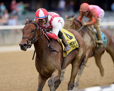 Separationofpowers pulls away in the Frizette Stakes Oct. 8
