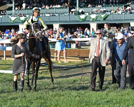 with John Oxley on right. La Coronel with Jose Lezcano wins the Queen Elizabeth II Challenge Cup Presented by Lane's End (G1). Oct. 14, 2017 in Lexington, Kentucky.