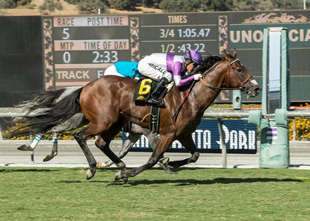 Reddam Racing's B Squared and jockey Mario Gutierrez, outside, overpower Richard's Boy (Flavien Prat), inside, to win the $100,000 California Flag Handicap, Saturday, October 21, 2017 at Santa Anita Park, Arcadia CA.