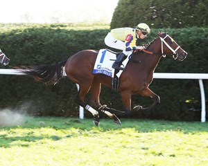 Lovely Bernadette wins the grade 3 Pin Oak Valley View Stakes at Keeneland under Florent Geroux