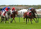 Roly Poly wins the Kingdom of Bahrain Sun Chariot Stakes at Newmarket
