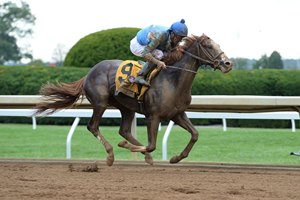 Free Drop Billy and jockey Robby Albarado cruise to an easy victory in the Claiborne Breeders' Futurity at Keeneland