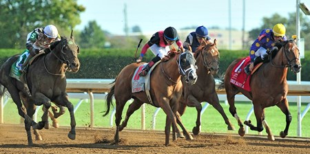 October 6, 2017 Whitmore (#11) Manny Franco up holds off Awesome Banner (#1) and favorite Limousine Liberal (outside) to win the Gr.2 Phoenix Stakes at Keeneland