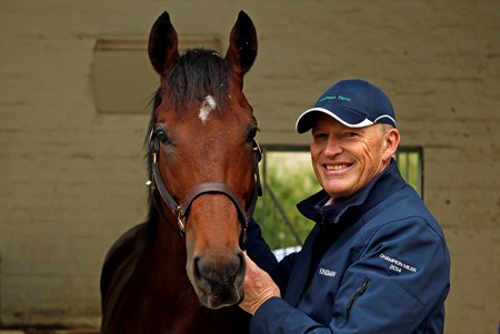 Cracksman with trainer John Gosden at his Clarehaven Stables in Newmarket 13 Oct 2017