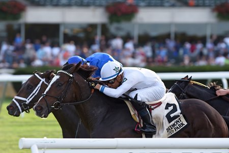 Yoshida (inside) wins the Hill Prince Stakes at Belmont Park