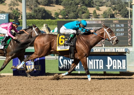 Roy H and jockey Kent Desormeaux win the G1, $300,000 Santa Anita Sprint Championship, Saturday, October 7, 2017 at Santa Anita Park, Arcadia CA.