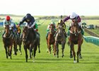Laurens (right) holds off September to win the grade 1 bet365 Fillies' Mile at Newmarket