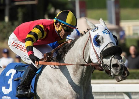 Barbara Beatrice and jockey Tiago Pereira win the $100,000 California Distaff Handicap, Saturday, October 14, 2017 at Santa Anita Park, Arcadia CA.