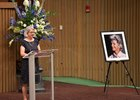 Kate Tweedy speaks at her mother's memorial service