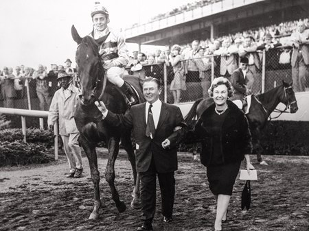 Priceless Gem after her 1965 Futurity victory at Aqueduct Racetrack